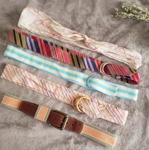 Colorful bundle of 5 belts. One size.